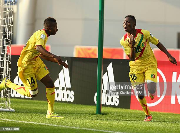 Dieudonne Gbakle of Mali celebrates after scoring a goal during the FIFA U-20 World Cup New Zealand 2015 Group D match between Mexico and Mali at...