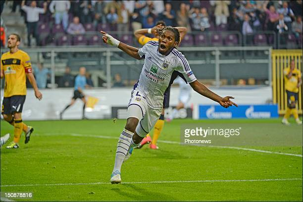 Dieudonne Mbokani of RSC Anderlecht reacts during the third qualifying round of the UEFA Champions League return match between RSC Anderlecht and AEL...