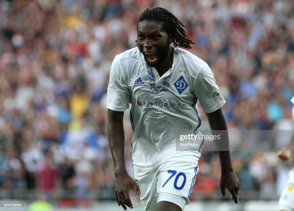 Dieumerci Mbokani Dynamo Kiev's celebrates the goal scored during the match of the third qualifying round of the Champions League between the teams of Dynamo Kiev and Young Boyes at the Olympic Stadium in Kiev. Ukraine, Wednesday, July 26, 2017