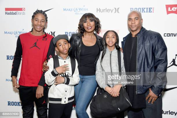 Diezel Braxton, Braxton Montelus Carter, Towanda Braxton, Brooke Carter and Evelyn Braxton pose backstage at the Rookie USA fashion show during New...