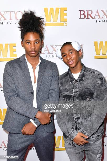 """Diezel Ky Braxton-Lewis and Denim Cole Braxton-Lewis are seen as We TV celebrates the premiere of """"Braxton Family Values"""" at Doheny Room on April 02,..."""