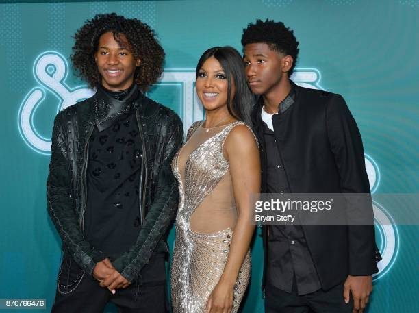 Diezel Ky BraxtonLewis recording artist Toni Braxton and Denim Cole BraxtonLewis attend the 2017 Soul Train Music Awards at the Orleans Arena on...