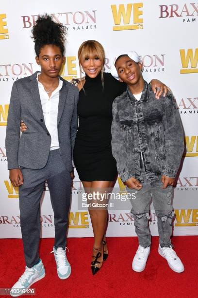 """Diezel Ky Braxton-Lewis, Tamar Braxton, and Denim Cole Braxton-Lewis are seen as We TV celebrates the premiere of """"Braxton Family Values"""" at Doheny..."""