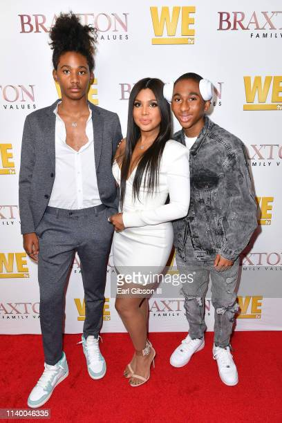 "Diezel Ky Braxton-Lewis, Toni Braxton, and Denim Cole Braxton-Lewis are seen as We TV celebrates the premiere of ""Braxton Family Values"" at Doheny..."