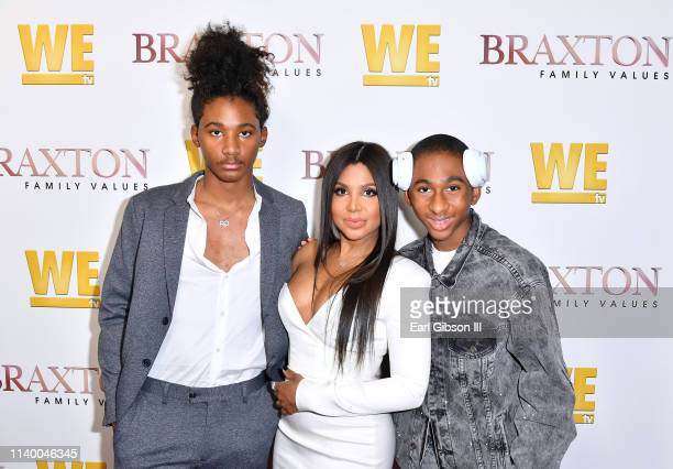 """Diezel Ky Braxton-Lewis, Toni Braxton, and Denim Cole Braxton-Lewis are seen as We TV celebrates the premiere of """"Braxton Family Values"""" at Doheny..."""