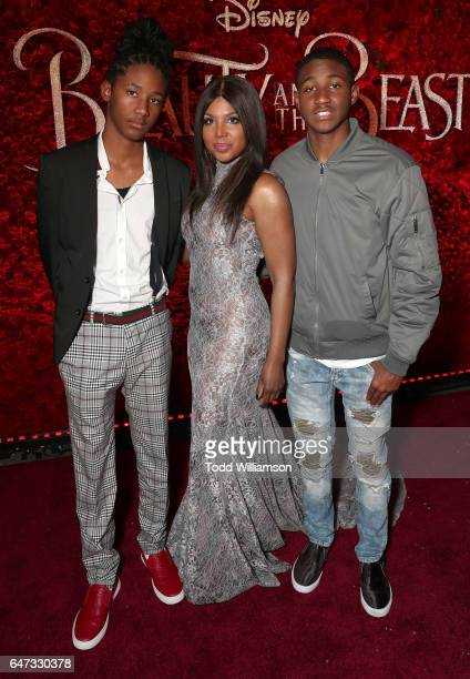Diezel Ky BraxtonLewis Toni Braxton and Denim Cole BraxtonLewis attend the premiere of Disney's 'Beauty And The Beast' at El Capitan Theatre on March...