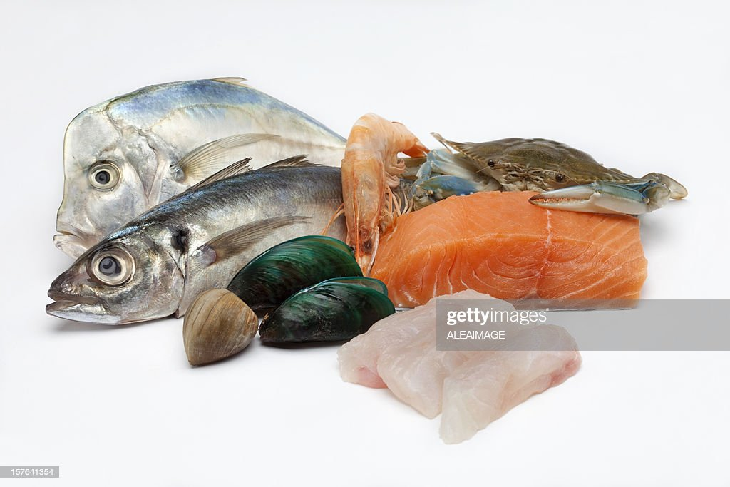 Different array of fish and fish filet on white background : Stock Photo