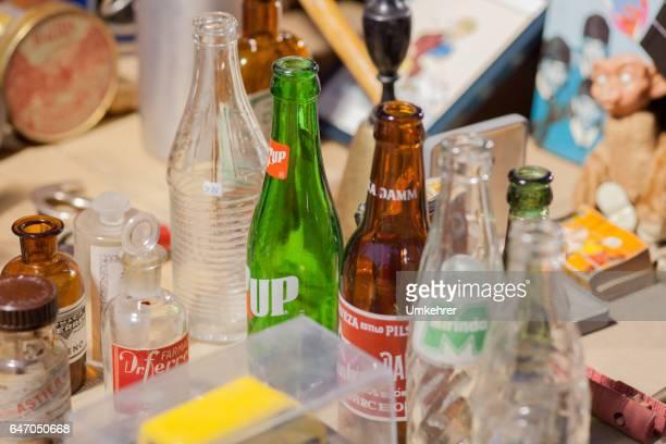 Different bottles on a flea market
