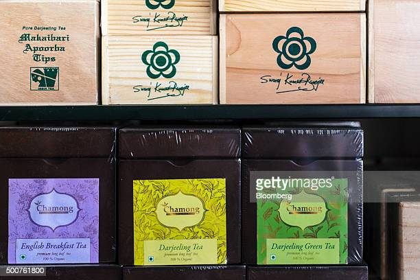 Different brands of Darjeeling tea sit on display in the show window of a tea store in Siliguri West Bengal India on Tuesday Dec 8 2015 India has a...