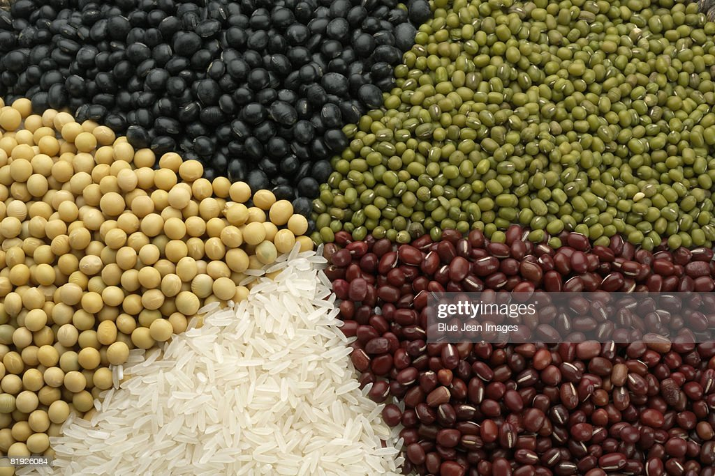 Different Chinese grains and beans, close-up : Stock Photo