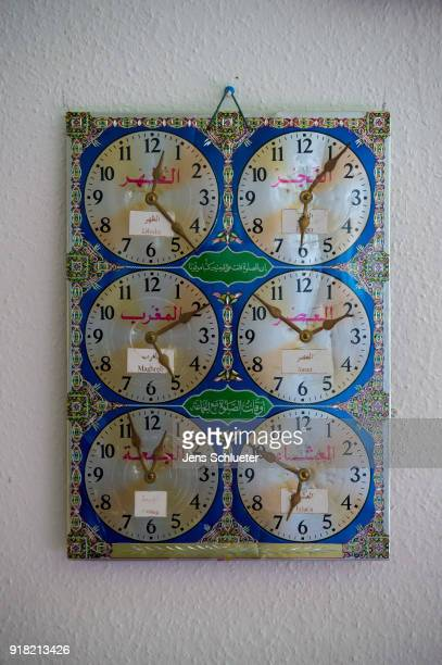 Different clocks hang in the Muslim cultural center and mosque as Aydan Ozoguz German Federal Commissioner for Immigration Refugees and Integration...