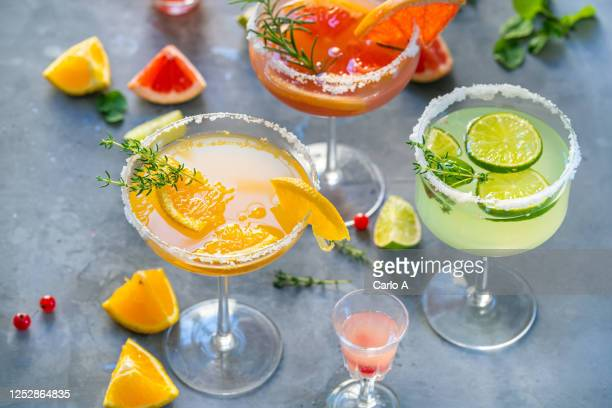 different cocktails with fruits and herbs - ウォッカ ストックフォトと画像