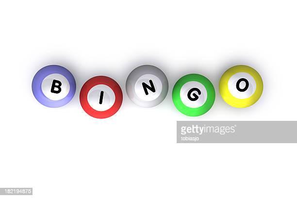 Different colored bingo balls that spell bingo