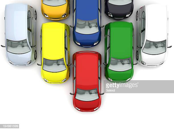 Different colored cars lined up moving down the screen