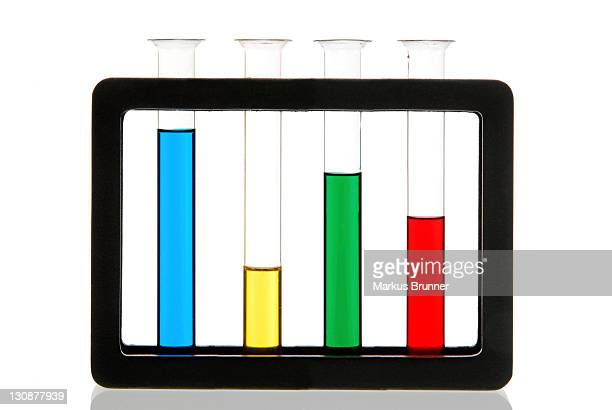 Different colored liquids in test tubes in a stand