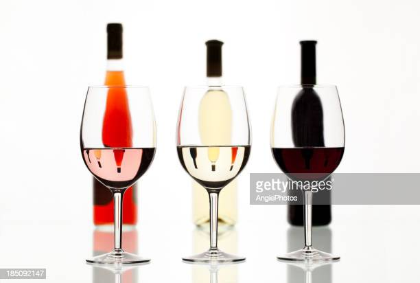Different colors of wine