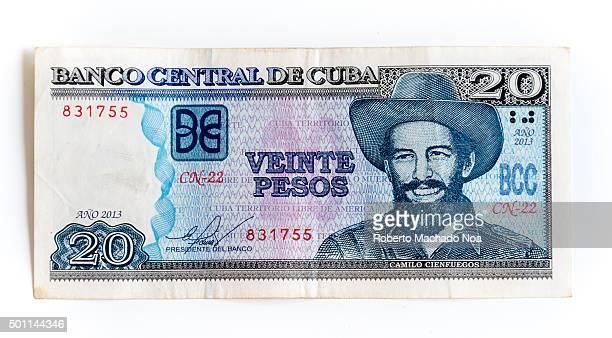 Diffe Denominations Of Cup Veinte Peso Or Twenty Cuban Note Depicting The Portrait Camilo