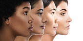 Different ethnicity women - Caucasian, African, Asian and Indian.