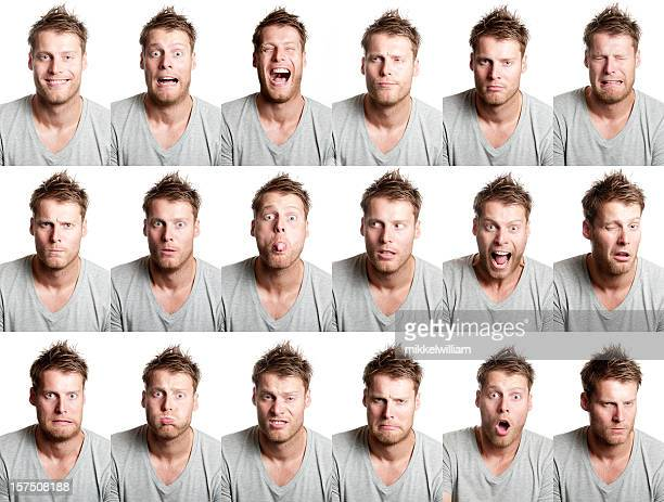 18 different facial expression from handsome man with beard