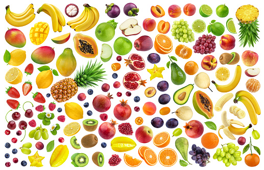 Different fruits and berries isolated on white background with clipping path 1139844767