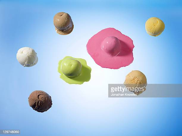Different ice cream scoops, some melting