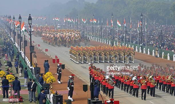 Different Indian military bands perform during the 65th Republic Day parade at Rajpath on January 26 2014 in New Delhi India India adopted its...