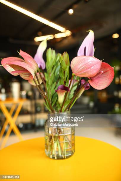 Different kinds of arranged flowers standing in a vase during the 'Kians Garden Flower Shop' Opening Event at Kantstrasse on July 11 2017 in Berlin...