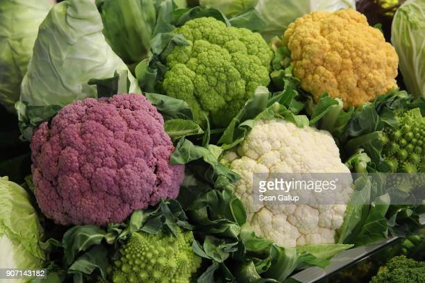 Different kinds of cauliflower lie on display at the 2018 International Green Week agricultural trade fair on January 19 2018 in Berlin Germany Food...