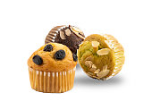 different kinds freshly baked banana muffins