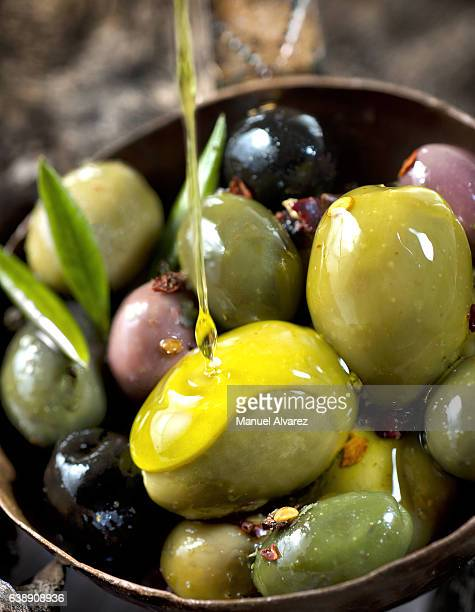 different kinds of olives - kalamata olive stock photos and pictures