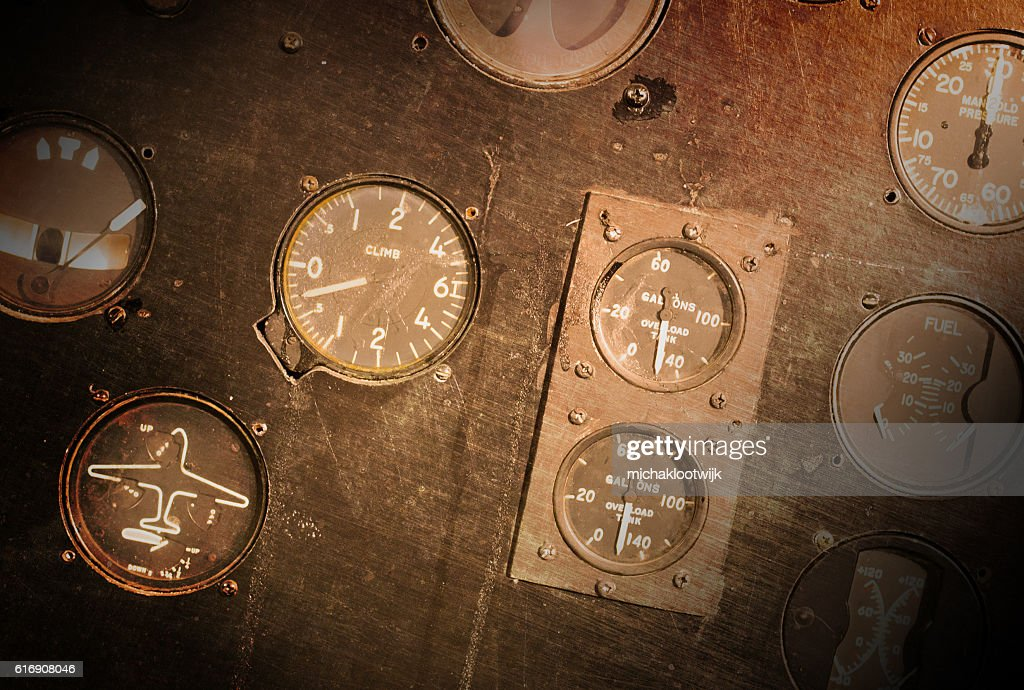 Different meters and displays in an old plane : Stock Photo