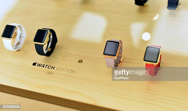 Different models of the Apple Watch are displayed in the Apple Store in Melbourne Australia on April 12 2015 Apple on April 10 held instore previews...