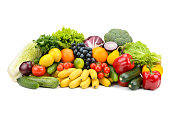 Different multi-colored healthy fruits and vegetables