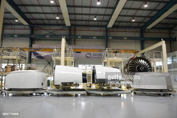 Different parts of an aircraft engine under construction are displayed at the industrial and technological engine manufacturer French Safran plant in...