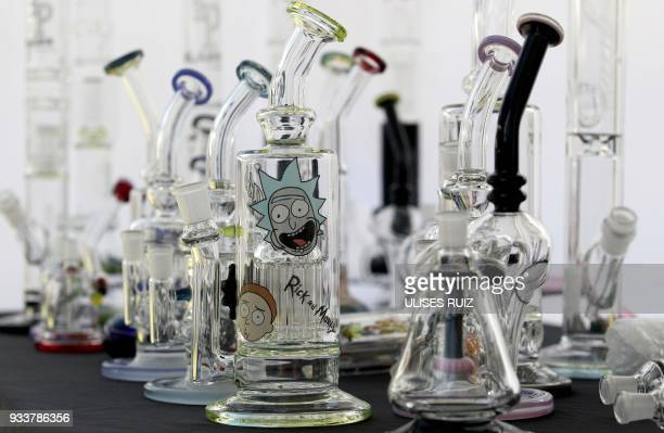 Different pipes are seen during the first Cannabis Cup where selfcultivation and the quality of the herb are encouraged in Tlajomulco de Zuniga...