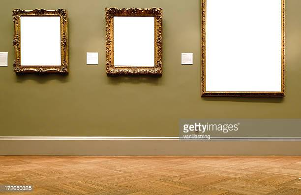 different sized empty frames on the wall - museum stock pictures, royalty-free photos & images