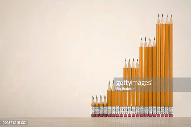 Different sized pencils stacked side by side