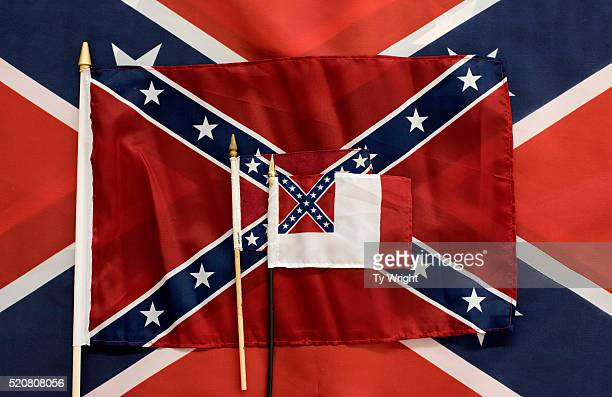 Different sizes of Confederate flags are displayed during the manufacturing process at the Alabama Flag and Banner on April 12 2016 in Huntsville...