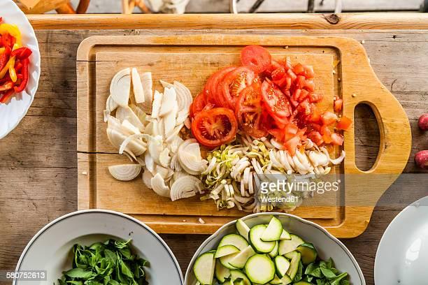 Different sliced vegetables prepared for salad