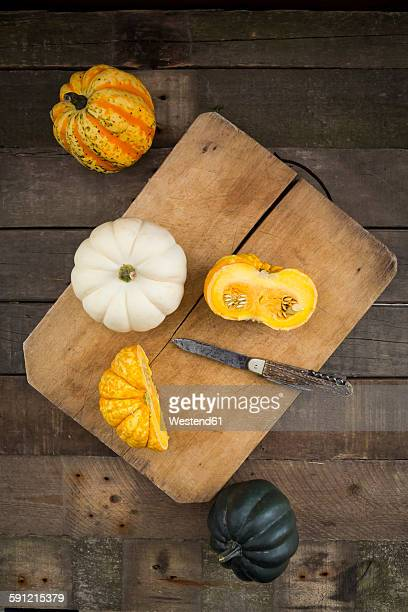 Different sorts of mini squashes on wooden board