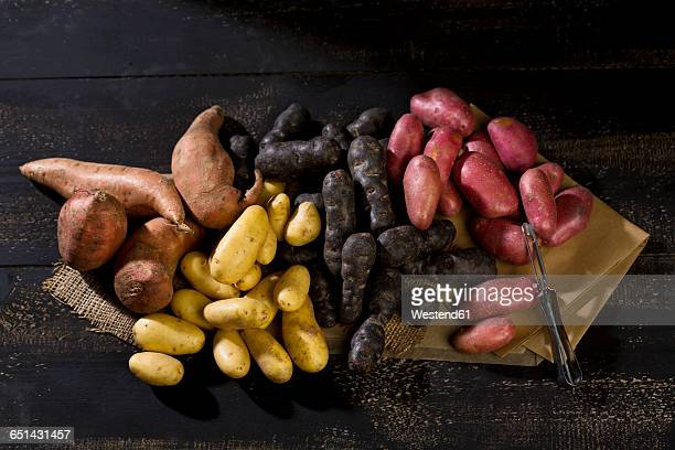 different sorts of potatoes and peeler on brown paper, jute and dark wood - prepared potato stock pictures, royalty-free photos & images