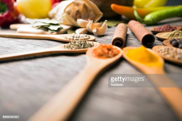 Different spices arranged on wooden table ,copy space
