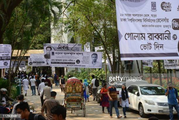 Different student organization's candidates campaign for ahead of March 11 Dhaka University Central Student's Union polls at Dhaka University Campus...