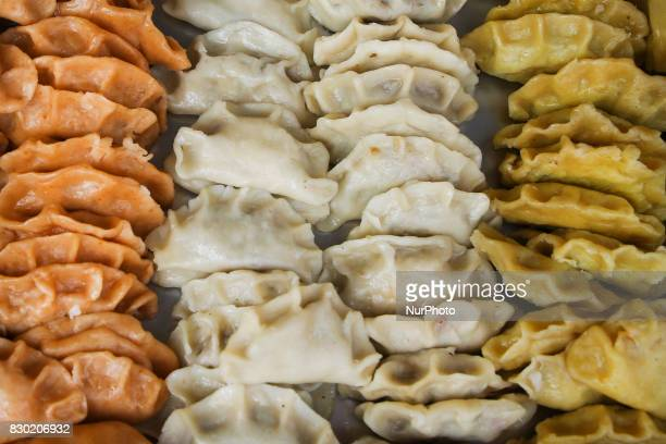 Different tastes of pierogi during the opening of the 15th Annual Pierogi Festival in Krakow's Small Square in Krakow Poland on 11 August 2017 Each...