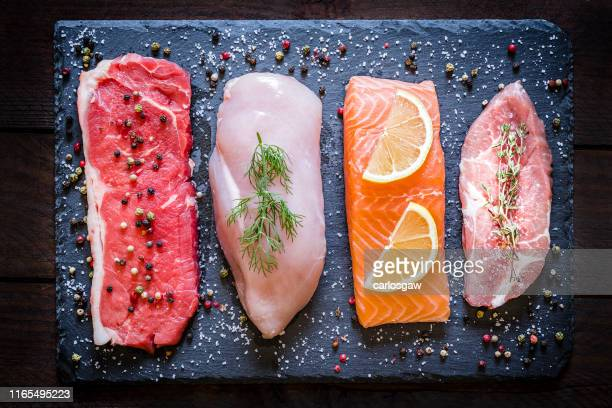 different types of animal protein - food pyramid stock photos and pictures