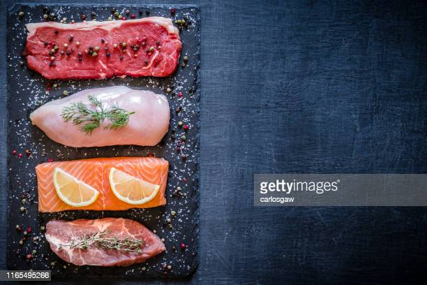 different types of animal protein - meat stock pictures, royalty-free photos & images
