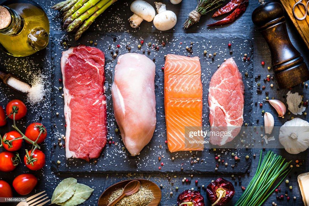 Verschillende soorten dierlijk eiwit : Stockfoto