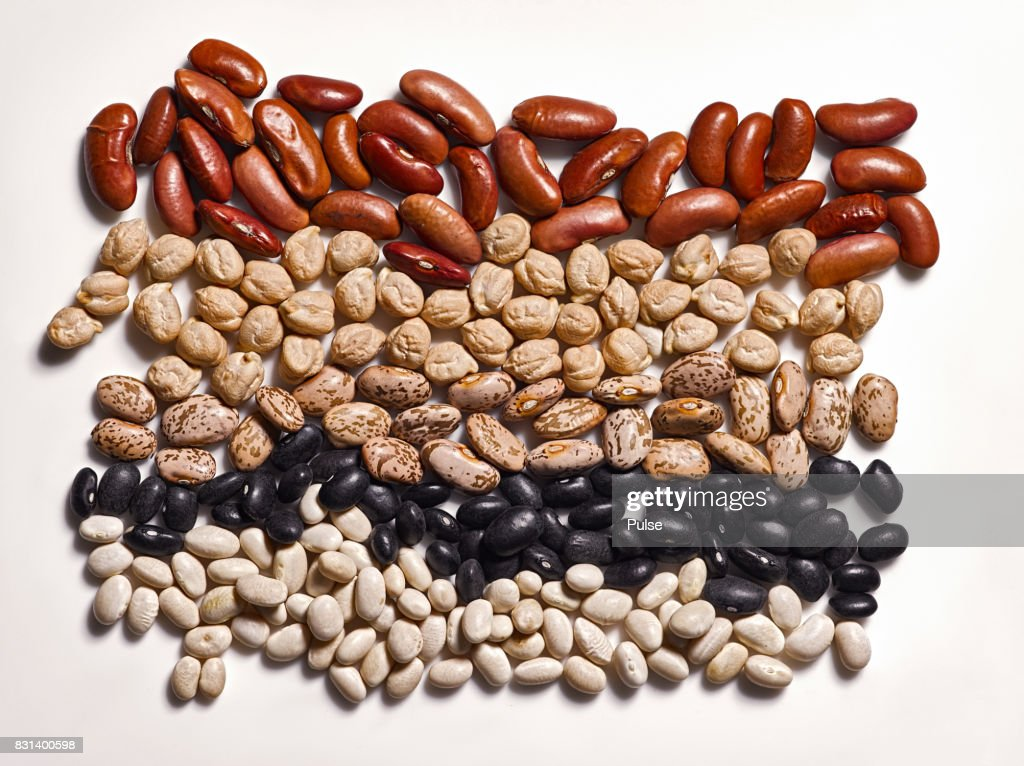 Different types of beans on white background. : Stock Photo