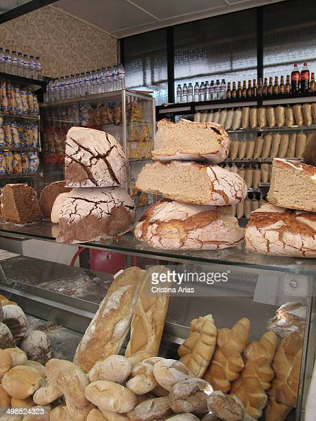 Different types of bread from a bakery in the Bolhao Market is the traditional market of the city of Oporto April 2014 Portugal