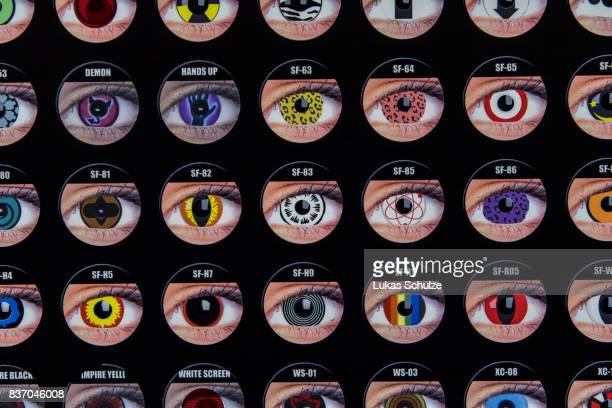 Different types of coloured contact lenses are sold at the Gamescom 2017 video gaming trade fair on August 22 2017 in Cologne Germany Gamescom is the...